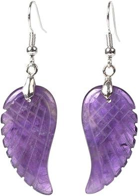 925 Sterling Silver Ear Hooks Pagan Wicca Guardian Angel Fluorite Wing Earrings