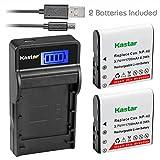 Kastar Battery X2 & SLIM LCD Charger for Kodak LB-06 LB06 LB-060 LB060 PixPro AZ251 AZ365 AZ421 AZ525, Casio Exilim Zoom EX-Z650, HP V5060 V5061 V556 V556AU V5560 V5560U V5560AU, BENQ Dli-202 DLi202