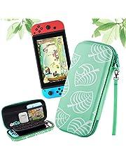Haobuy Bärväska för Nintendo Switch, bärbar reseförvaring silikon PU switch fodral [för djur nya horisonter], mjuk smal skyddande AC-väska för Nintendo Switch-konsolspel och tillbehör -grön