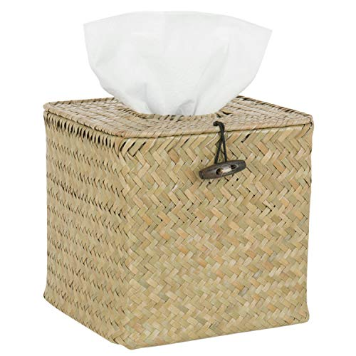 (MyGift Woven Seagrass Refillable Tissue & Napkin Holder with Hinged Top Lid)