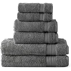 HygroSoft Fast Drying and Absorbent 100% Cotton 6-piece Towel Set, Pewter