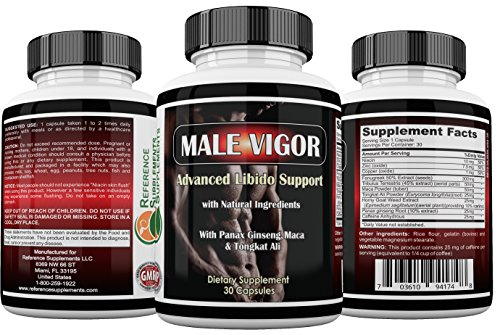 Male Vigor Natural Testosterone Supplements - Best Testosterone Pills - Testosterone Booster With Tongkat Ali, Horny Goat Weed, Maca Root and Tribulus - 100% Money Back Guarantee