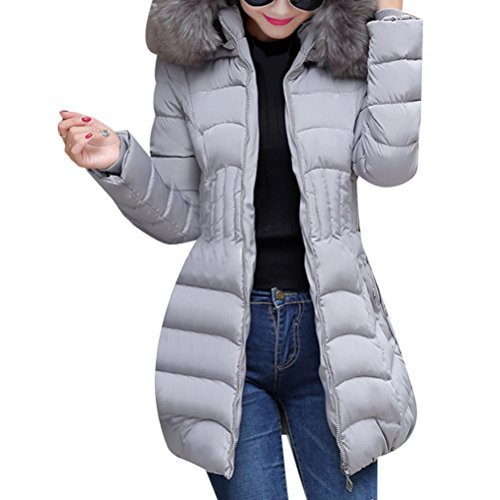 Zhhlinyuan pour Hiver Hooded Coats Padded Collar with Cotton Big Outerwear Long gris Femmes Zip Warm élégant Classic Chic et rWST6r