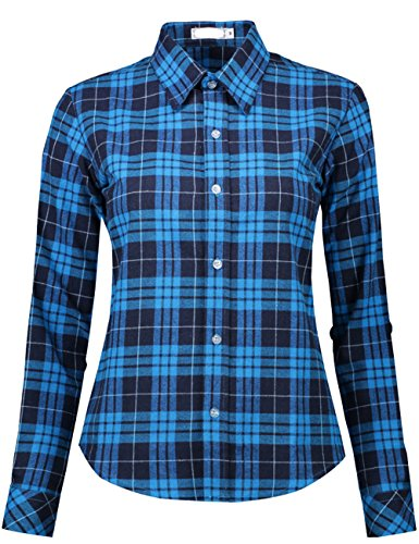 l Blouses Long Sleeve Plaid Checkered Button Down Flannel Shirts (Small, Blue Black) (Checkered Flannel)