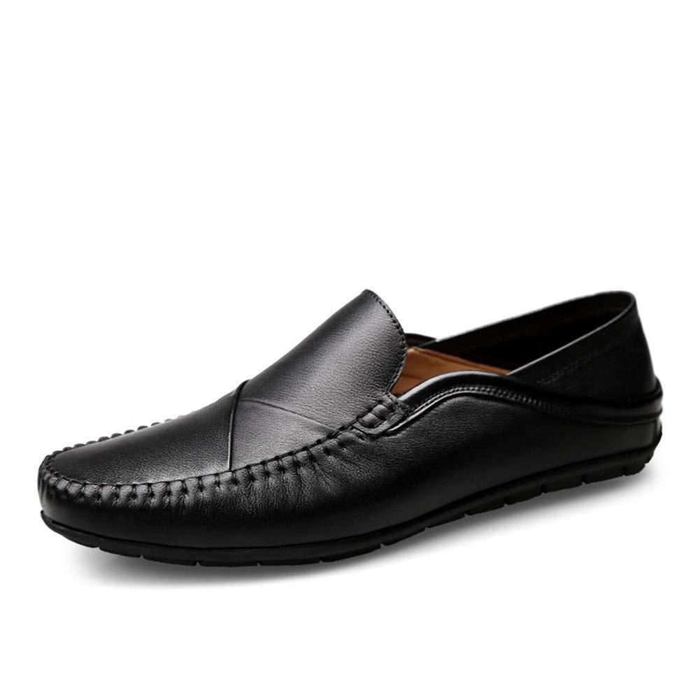 Schwarz QISTAR-MAN Herren Stiefel-Mokassins Schlupfschuhe aus aus echtem Leder, einfache einfarbige Farben, flexibel, atmungsaktiv, niedrige Oberseite, leicht, einfarbig  angemessener Preis