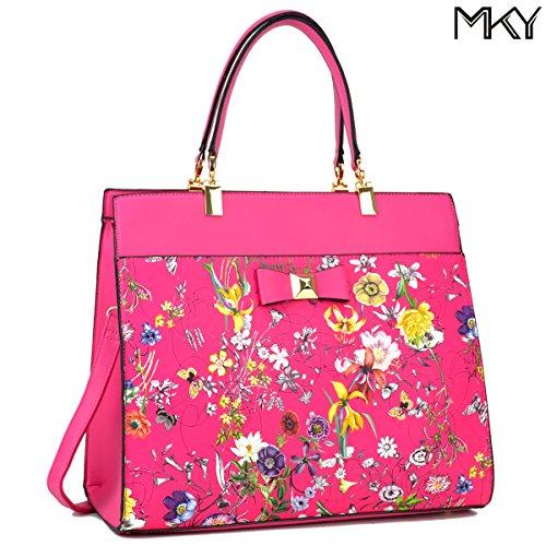 Large Satchel Handbag Floral Design Gold Accent Bow w/ Shoulder Strap Hot Pink