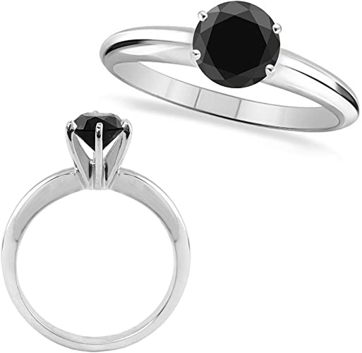 1.0 Carat Black AAA Round Diamond Solitaire Wedding Bridal Ring 14K White Gold