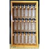 Porta temperos em madeira de parede com 18 tubos pet (Madeira Grápia/Garapeira)