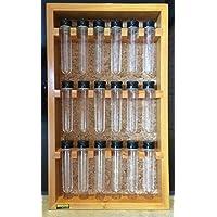 Porta temperos em madeira de parede com 18 tubos pet