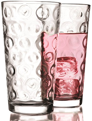 Circleware Circles Huge Drinking Glasses, Set of 10, 17 oz., Clear