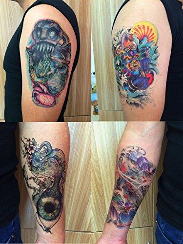 DaLin 4 Sheets Temporary Tattoos, Dragon, Koi Fish, Eye, Owl ()