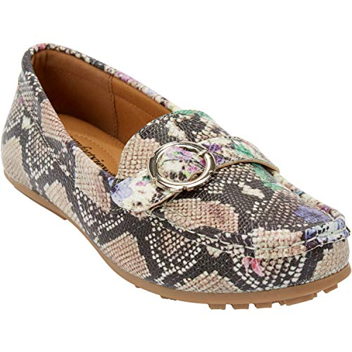 (Comfortview Women's Plus Size The Zara Driver - Floral Snake Print, 12 W)