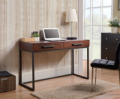 HOMESTAR Z1610999 Desk - Homestar 2 drawer desk with powder coated metal base is strong and Sturdy and wipe to clean. Made of Particle Board and medium density fiber Board Light weight and easy to assemble - writing-desks, living-room-furniture, living-room - 51SsP6uAWVL -