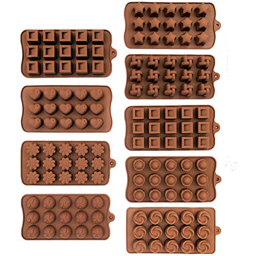 9-PACK Silicone Candy Molds, Non-stick Chocolate, Jelly and Candy Mold. 15 Cavities Each. Geometric Variety Classic Shape Designs. 9 Pack