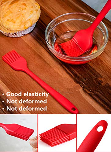 """Silicone Tongs(9"""") & Brush(8"""") and Spatula(8"""") Kitchen Cooking Utensils Set of 3,Safe and Heat Resistant,Great for Baking, Food, Mixing, Marinating Meat and Pastries"""