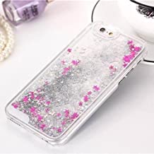 Tech Express (Tm) Silver and Pink Stars Glitter Liquid Water Aqua Movable Quicksand Dynamic Air Cover Case for Apple Iphone 5s