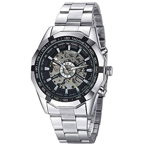 Mechanical Watch Automatic Skeleton Self-Winding Men's Silver Stainless Steel Waterproof Luminous