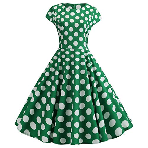 Aunimeifly Women's Retro Polka Dot Short-Sleeved Round Neck A-Line Large Swing Princess Dress Green