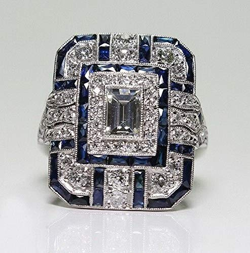 Endicot Jewelry 925 Silver Ring Sapphire White Topaz Women Wedding Engagement Size 6-10 | Model RNG - 18078 | 9