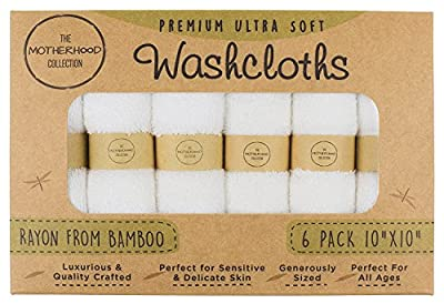 """The Motherhood Collection 6 ULTRA SOFT Baby Bath Washcloths, 100% Natural Bamboo Towels, No-Dyes, Perfect for Sensitive Baby Skin, 6 Pack 10""""x10"""""""
