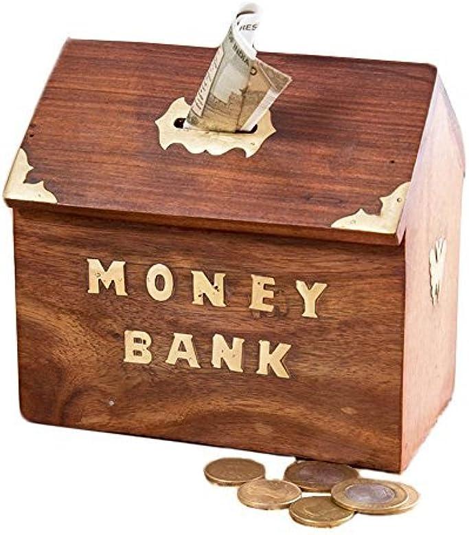 IndiaBigShop Regalo de la acción de Gracias para Sus Seres Queridos Banco De Dinero De Madera Hut Forma, Mariposa De Oro con Bloqueo Caja De Monedas, Caja De Almacenamiento De Dinero.: Amazon.es: