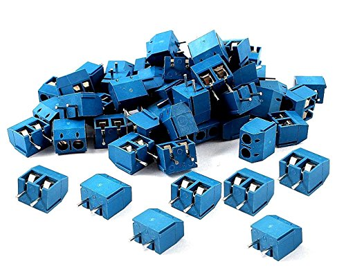 SamIdea 60pcs 2P 5.08mm Spacing PCB Mount Screw Terminal Blocks Arduino Socket Strips,Blue 300V/16A