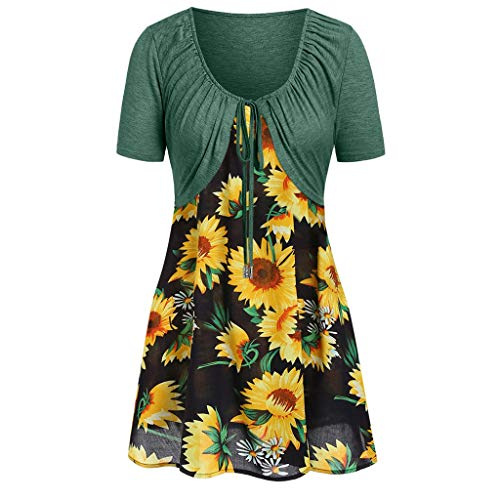 (New in Respctful✿ Women's Boho Dress Casual Sunflower Print Maxis Dress with Bow Knot Kimonos Spaghetti Strap)