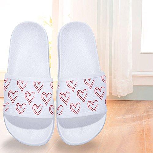 Non Little Slippers Slippers Pink W Pattern for Quick Mens Slip Womens Heart Drying qZwUZI