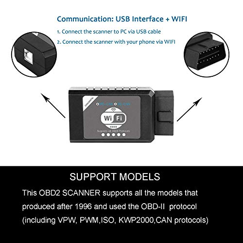 CoolDigital OBD2 Scanner Code Reader OBDII Scan Tool USB WiFi Adapter Auto Check Engine Light Car Diagnostic iOS Android