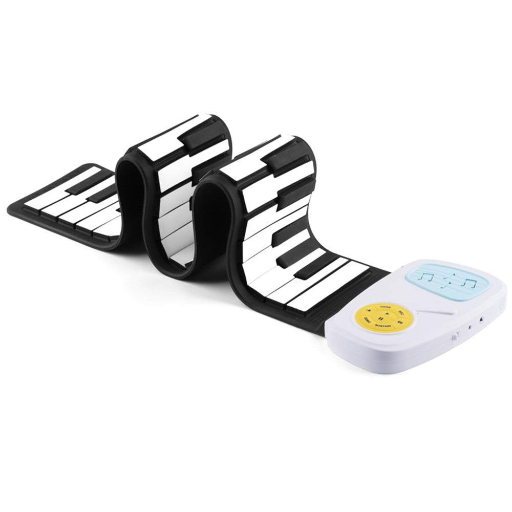 Electronic piano Electric Digital Roll Up Keyboard Piano Foldable and Flexible Soft Silicon 49 Standard KeysFor Kids With 8 Tone 6 Demo Songs Recording Play Echo Sustain Built-in Speaker Headphone Jac by Shenghua1979-MU