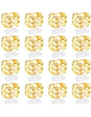 Brightown Led Fairy Lights Battery Operated String Lights Waterproof Silver Wire, 7Ft 20 LED Firefly Starry Moon Lights for DIY Wedding Party Bedroom Patio Christmas, Warm White