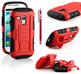 Galaxy S3 Mini Case, RANZ RED Rugged Impact Armor Hybrid Kickstand Cover with Belt Clip Holster Case For Samsung Galaxy S3 Mini (i8190) + Touch Stylus