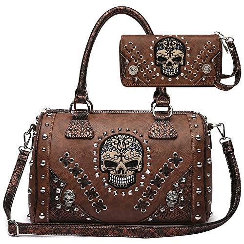 Sugar Skull Day of the Dead Punk Art Purse Removable Strap Women Satchel Handbag Shoulder Bag Wallet Set (Brown Set)