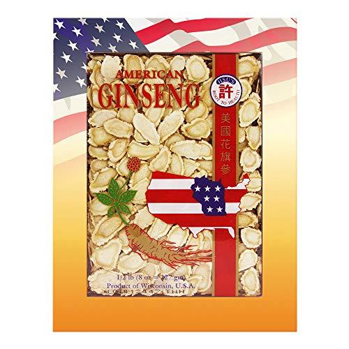 HSU's Ginseng SKU 126LL-8 | Medium Sorted Slices | Cultivated Wisconsin American Ginseng Direct from Hsu's Ginseng Gardens | 人工花旗參 中號規格片 8 oz Box, 西洋参