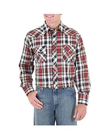 Wrangler Men's Assorted Stripe Or Plaid Long Sleeve Classic Western Shirt Tall Plaid X-Large Tall - Casual Stripe Pattern Shirts