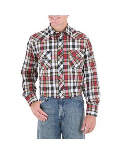 Wrangler Men's Assorted Stripe Or Plaid Long Sleeve Classic Western Shirt Tall Plaid XX-Large Tall (Western Tall Shirt Stripe)