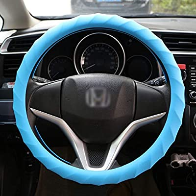 King Company Odorless Leather Texture Soft Thick Silicone Car Steering Wheel Cover Car Universal Cover for Cars, Vans, Trucks, and SUVs (Bule): Automotive