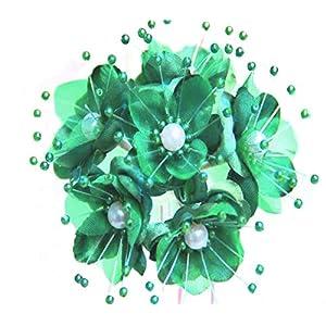 72 Kelly Green Wedding Bridal Pearl Satin Organza Flower 2