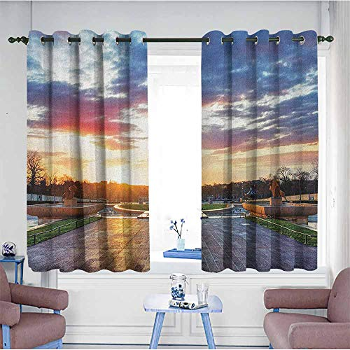 Indoor/Outdoor Curtains,Eiffel Tower Parisian Landmark Sunrise with Clouds on Horizon Park Statues Sun Rays,Energy Efficient, Room Darkening,W63x72L Navy Yellow Green ()