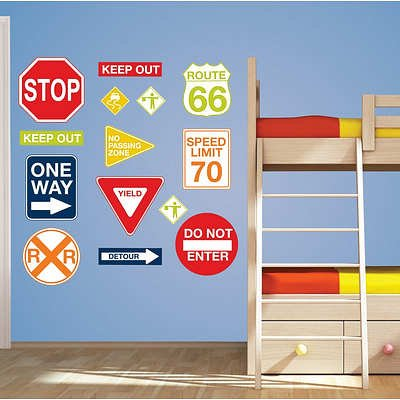 (17x35) Road Signs Wall Art Decal Kit