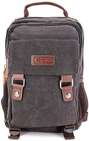 GK Eurosport Canvas 2 in 1 Campus Backpack Right or Left Sling Travel Bag  (B7VE 4f78a5e936e7d