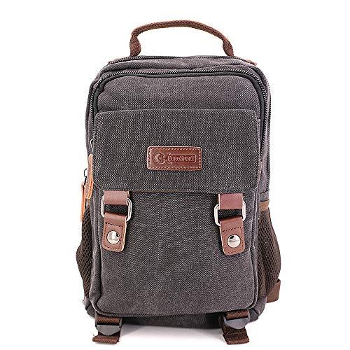 GK Eurosport Canvas 2 in 1 Campus Backpack Right or Left Sling Travel Bag (B7VE-BLACK) (Eurosport Canvas Backpack)