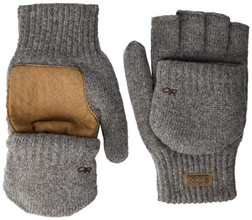 (Outdoor Research Men's Lost Coast Fingerless Mitts, Pewter, Large)