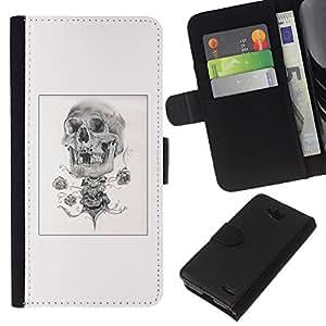 EJOY---La carpeta del tirón la caja de cuero de alta calidad de la PU Caso protector / LG OPTIMUS L90 / --Cráneo del bosquejo del lápiz del cartel Negro Blanco