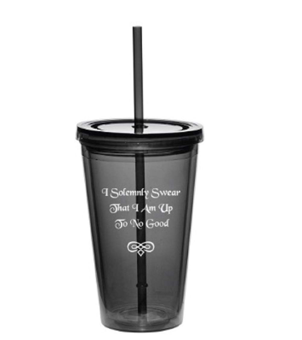 1, Swear-Clear I Solemnly Swear That I Am Up To No Good Double Walled Acrylic Plastic Tumbler with Lid and Straw
