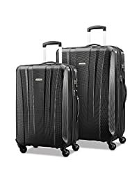 Samsonite 91823-1041 Pulse DLX Lightweight 2-Piece Hardside Luggage Set, Black, Checked – Large