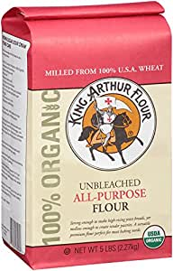 King Arthur Flour 100% Organic Unbleached All-Purpose Flour, 5 Pound, (Packaging May Vary)