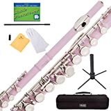 Mendini Closed Hole C Pink Flute with Stand, 1 Year Warranty, Case, Cleaning Rod, Cloth, Joint Grease, and Gloves - MFE-PK+SD+PB