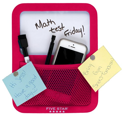 Five Star Locker Accessories, Locker Dry Erase Board with Storage Pocket, Magnetic, Red (72596) Photo #3