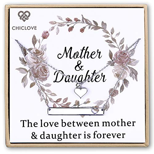 (CHICLOVE Mother Daughter Jewelry Sets for Two, Cutout Heart Necklaces, 2 Sterling Silver Necklaces (D - 2 Sterling Silver Necklaces))